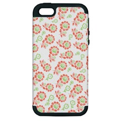 Flower Floral Red Star Sunflower Apple Iphone 5 Hardshell Case (pc+silicone) by Mariart
