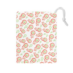 Flower Floral Red Star Sunflower Drawstring Pouches (large)  by Mariart