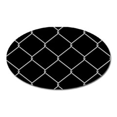 Iron Wire White Black Oval Magnet by Mariart