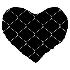 Iron Wire White Black Large 19  Premium Heart Shape Cushions by Mariart