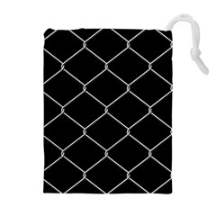Iron Wire White Black Drawstring Pouches (extra Large) by Mariart