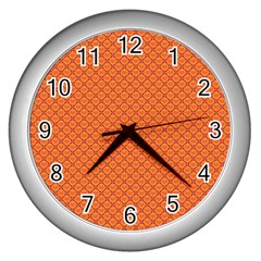 Heart Orange Love Wall Clocks (silver)  by Mariart