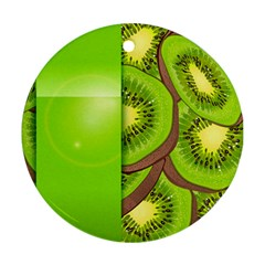 Fruit Slice Kiwi Green Round Ornament (two Sides) by Mariart
