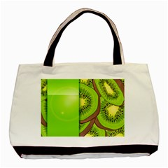 Fruit Slice Kiwi Green Basic Tote Bag (two Sides) by Mariart