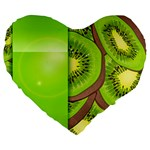 Fruit Slice Kiwi Green Large 19  Premium Heart Shape Cushions Front