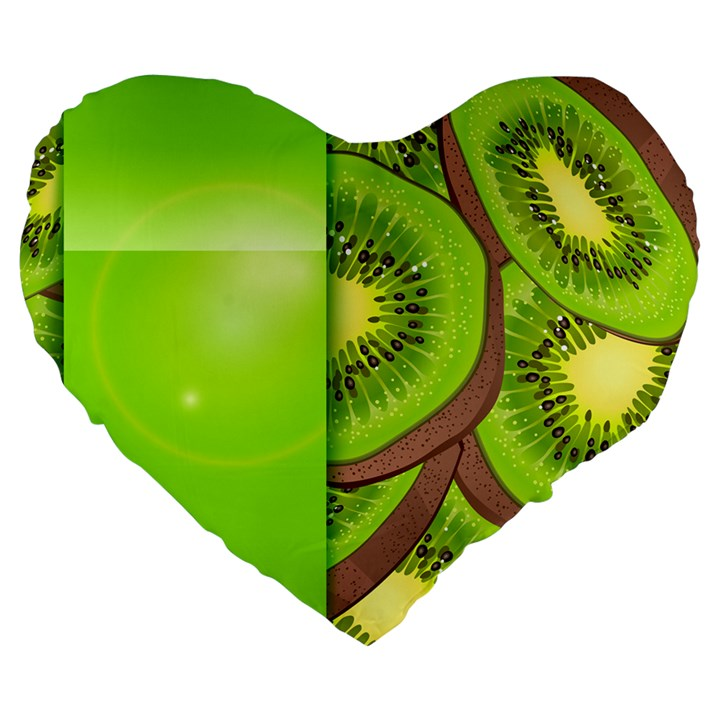 Fruit Slice Kiwi Green Large 19  Premium Heart Shape Cushions
