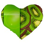 Fruit Slice Kiwi Green Large 19  Premium Heart Shape Cushions Back