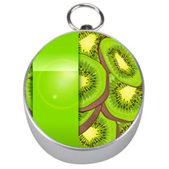 Fruit Slice Kiwi Green Silver Compasses by Mariart