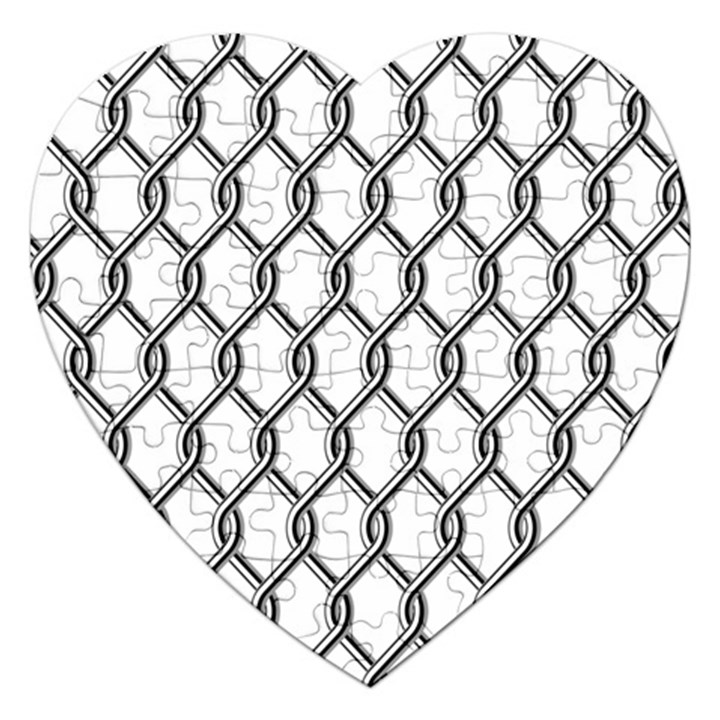 Iron Wire Black White Jigsaw Puzzle (Heart)