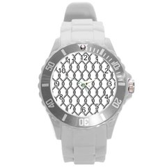 Iron Wire Black White Round Plastic Sport Watch (l) by Mariart