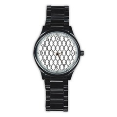 Iron Wire Black White Stainless Steel Round Watch by Mariart