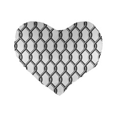 Iron Wire Black White Standard 16  Premium Flano Heart Shape Cushions by Mariart