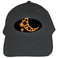 Moon Star Space Orange Black Light Night Circle Polka Black Cap by Mariart