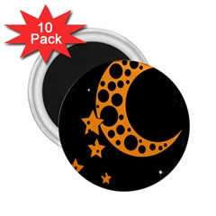Moon Star Space Orange Black Light Night Circle Polka 2 25  Magnets (10 Pack)  by Mariart