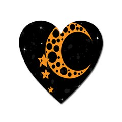 Moon Star Space Orange Black Light Night Circle Polka Heart Magnet by Mariart