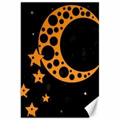 Moon Star Space Orange Black Light Night Circle Polka Canvas 20  X 30   by Mariart