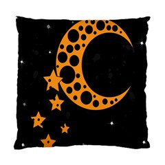 Moon Star Space Orange Black Light Night Circle Polka Standard Cushion Case (two Sides) by Mariart