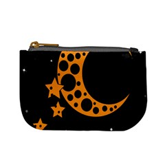 Moon Star Space Orange Black Light Night Circle Polka Mini Coin Purses by Mariart