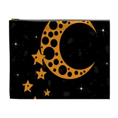 Moon Star Space Orange Black Light Night Circle Polka Cosmetic Bag (xl) by Mariart
