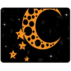 Moon Star Space Orange Black Light Night Circle Polka Fleece Blanket (medium)  by Mariart