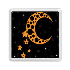 Moon Star Space Orange Black Light Night Circle Polka Memory Card Reader (square)  by Mariart