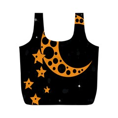 Moon Star Space Orange Black Light Night Circle Polka Full Print Recycle Bags (m)  by Mariart