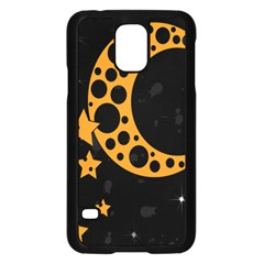 Moon Star Space Orange Black Light Night Circle Polka Samsung Galaxy S5 Case (black) by Mariart