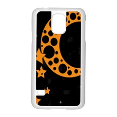 Moon Star Space Orange Black Light Night Circle Polka Samsung Galaxy S5 Case (white) by Mariart