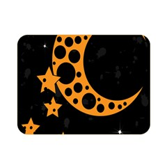Moon Star Space Orange Black Light Night Circle Polka Double Sided Flano Blanket (mini)  by Mariart
