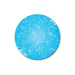 Leaf Blue Snow Circle Polka Star Magnet 3  (round) by Mariart