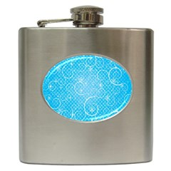 Leaf Blue Snow Circle Polka Star Hip Flask (6 Oz) by Mariart