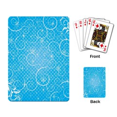 Leaf Blue Snow Circle Polka Star Playing Card by Mariart