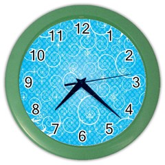 Leaf Blue Snow Circle Polka Star Color Wall Clocks by Mariart