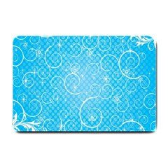 Leaf Blue Snow Circle Polka Star Small Doormat  by Mariart
