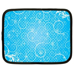 Leaf Blue Snow Circle Polka Star Netbook Case (large) by Mariart