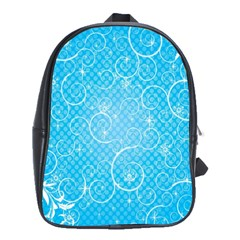 Leaf Blue Snow Circle Polka Star School Bags(large)