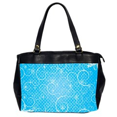 Leaf Blue Snow Circle Polka Star Office Handbags (2 Sides)  by Mariart