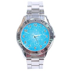 Leaf Blue Snow Circle Polka Star Stainless Steel Analogue Watch by Mariart