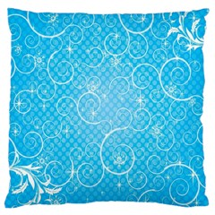 Leaf Blue Snow Circle Polka Star Large Cushion Case (two Sides) by Mariart