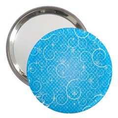 Leaf Blue Snow Circle Polka Star 3  Handbag Mirrors