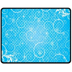 Leaf Blue Snow Circle Polka Star Double Sided Fleece Blanket (medium)  by Mariart