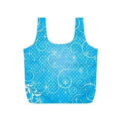 Leaf Blue Snow Circle Polka Star Full Print Recycle Bags (s)  by Mariart