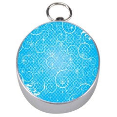 Leaf Blue Snow Circle Polka Star Silver Compasses by Mariart