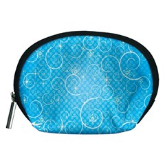 Leaf Blue Snow Circle Polka Star Accessory Pouches (medium)  by Mariart