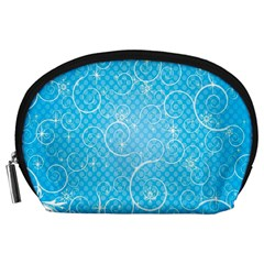 Leaf Blue Snow Circle Polka Star Accessory Pouches (large)  by Mariart