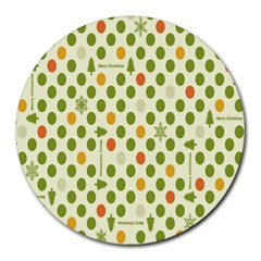 Merry Christmas Polka Dot Circle Snow Tree Green Orange Red Gray Round Mousepads by Mariart