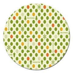 Merry Christmas Polka Dot Circle Snow Tree Green Orange Red Gray Magnet 5  (round) by Mariart