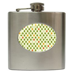 Merry Christmas Polka Dot Circle Snow Tree Green Orange Red Gray Hip Flask (6 Oz) by Mariart