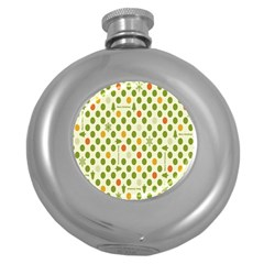 Merry Christmas Polka Dot Circle Snow Tree Green Orange Red Gray Round Hip Flask (5 Oz) by Mariart