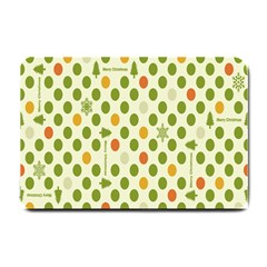 Merry Christmas Polka Dot Circle Snow Tree Green Orange Red Gray Small Doormat  by Mariart